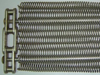 A balanced weave conveyor belt with chain links.