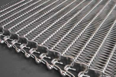 A flexible rod conveyor belt with U-shaped links and side guards.